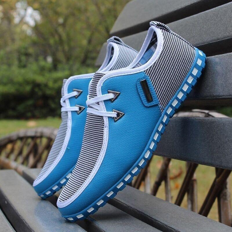 Verão Outono Listrado Homens Sapatos Casuais Sapatos de Lona Dos Homens Leve Sapatilha Doug Sapatos de Couro PU Lace Up Apartamentos Masculinos