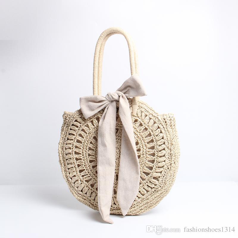 2019 New Fashion Round Straw Borse da spiaggia Borse da donna Summer Rattan Tote Hand Bag Handmade Woven Shoulder Bag Circle Bohemia Handbag