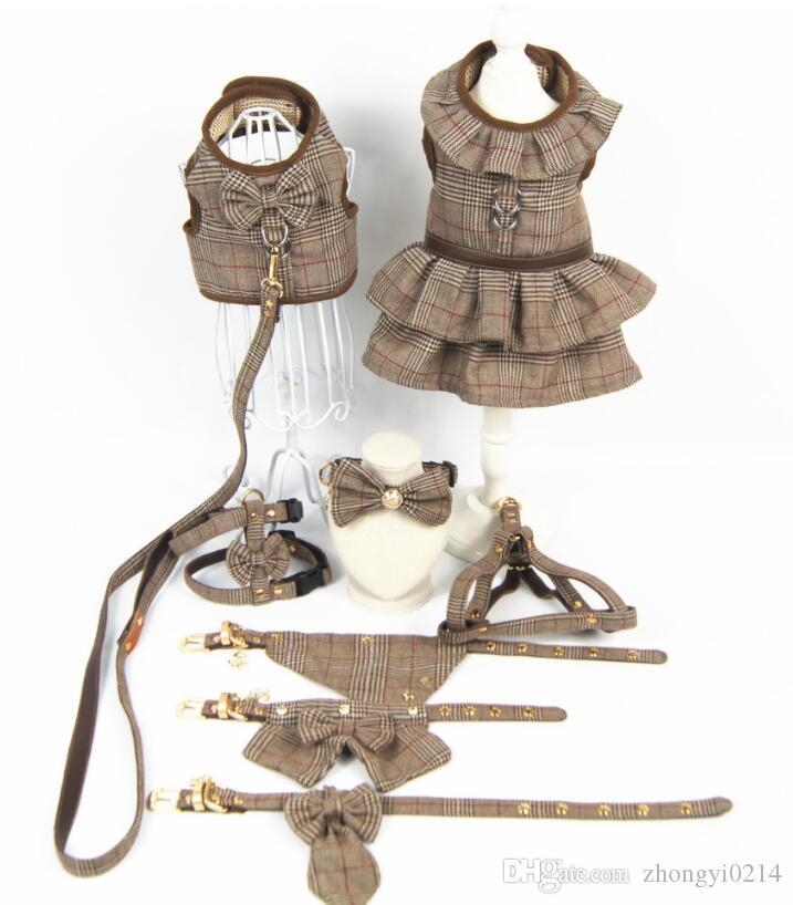 디자이너 개 액세서리 애완 동물 옷 영국 스타일 통기성 견인 가슴 양복 조끼 스커트