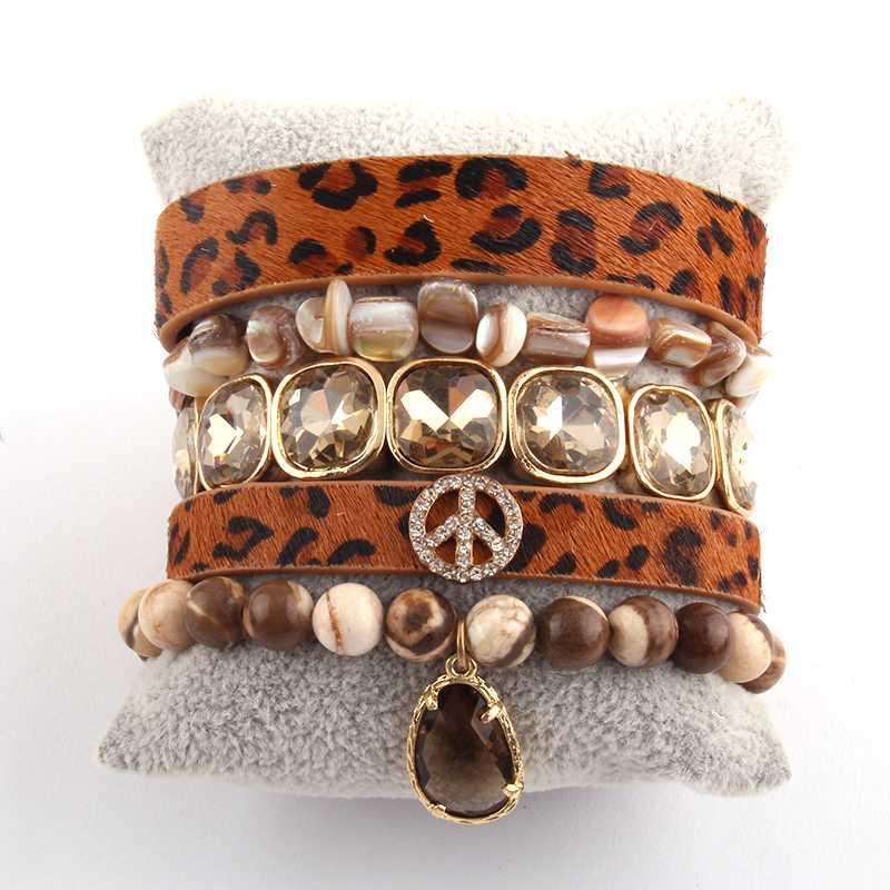 MD New Peace leopard Bracelet Set Natural Stone 5pc Wrap Bracelets Sets For Women Fashion Jewelry DropShipping