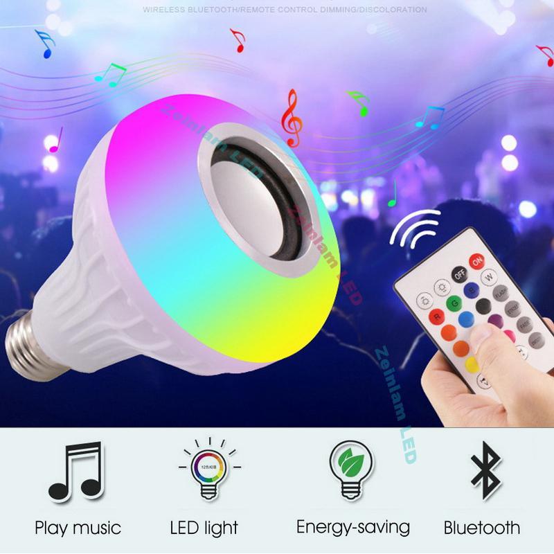 لمبة LED الذكية RGB بلوتوث اللاسلكية سماعات لمبة مصباح موسيقى اللعب عكس الضوء 12W مشغل موسيقى الصوت مع 24 مفاتيح التحكم عن بعد