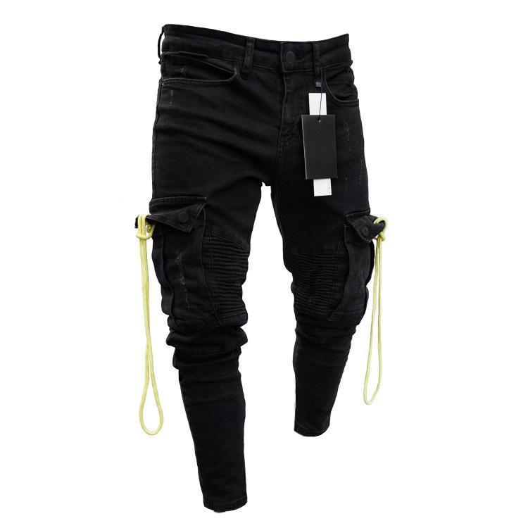 Mens streetwear preto jeans multi-bolso elasticidade com furos zipper skinny jeans moda lápis calças tamanho s-3xl