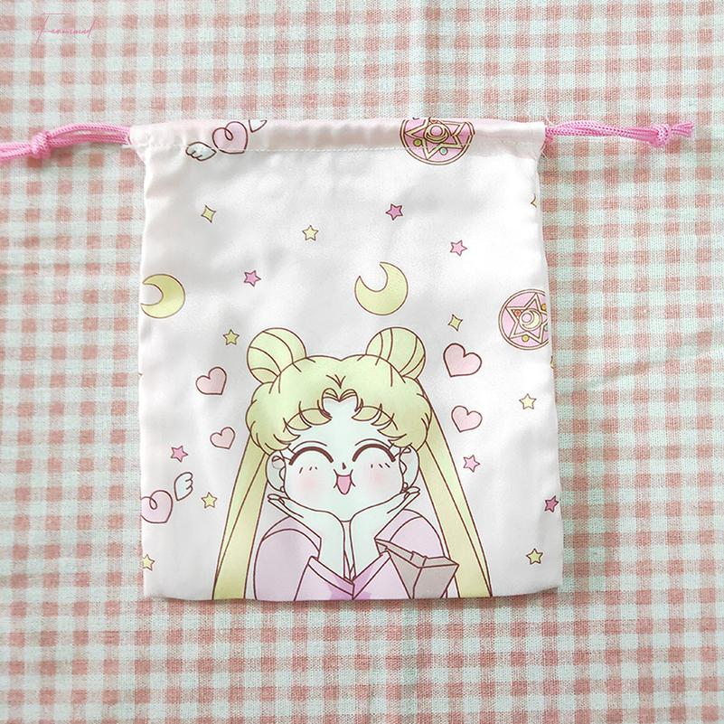 Sailor Moon Women Cute Coin Bag Anime Cartoon Draw String Wallet Bucket Lady Purse Organizer Change Money Bags Pouch