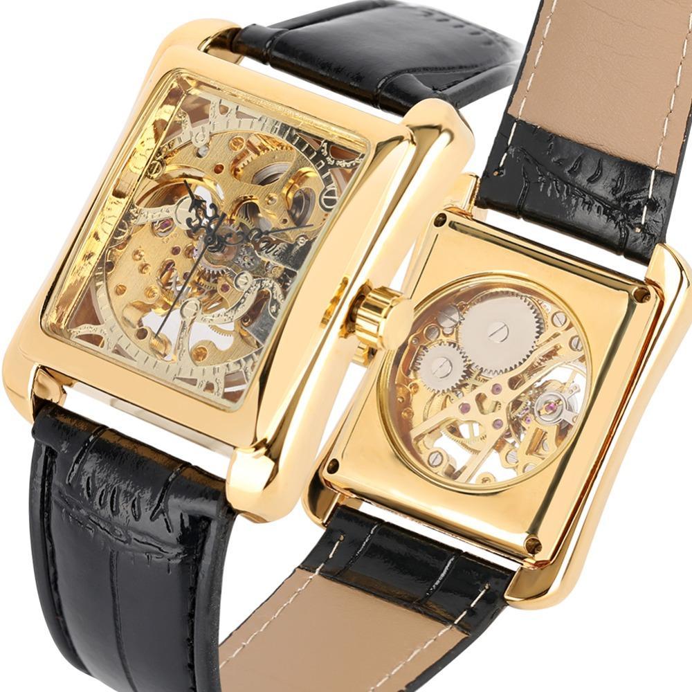 Rechteck Gold-Hand-Wind Mechanische Uhren für Herren-Schwarz-Leder-Band-Uhr für Jugendliche Skeleton transparentem Uhr-Mann
