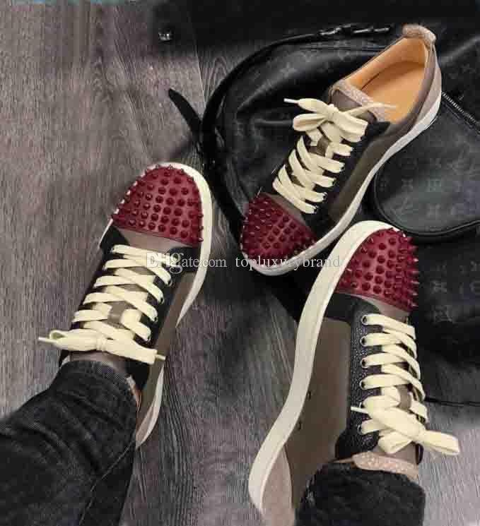 Süper Kalite Adı Marka Ayakkabı Alt Sneaker için Erkekler, Kadınlar Ayakkabı Genç Tırnaklı Erkekler Düz Spor Kaykay Ayakkabı Koyu Kahverengi Lea kırmızı
