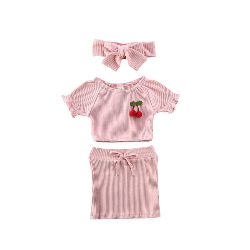 Niños bebé ropa de la muchacha floral de manga corta Tops Faldas + + banda de sujeción Trajes 3pcs de moda de verano muchachas de los niños Conjunto