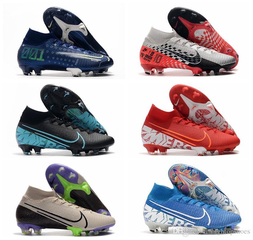2019 mens soccer shoes Mercurial Superfly 7 Elite CR7 FG soccer cleats Neymar JR football boots cheap botas de futbol
