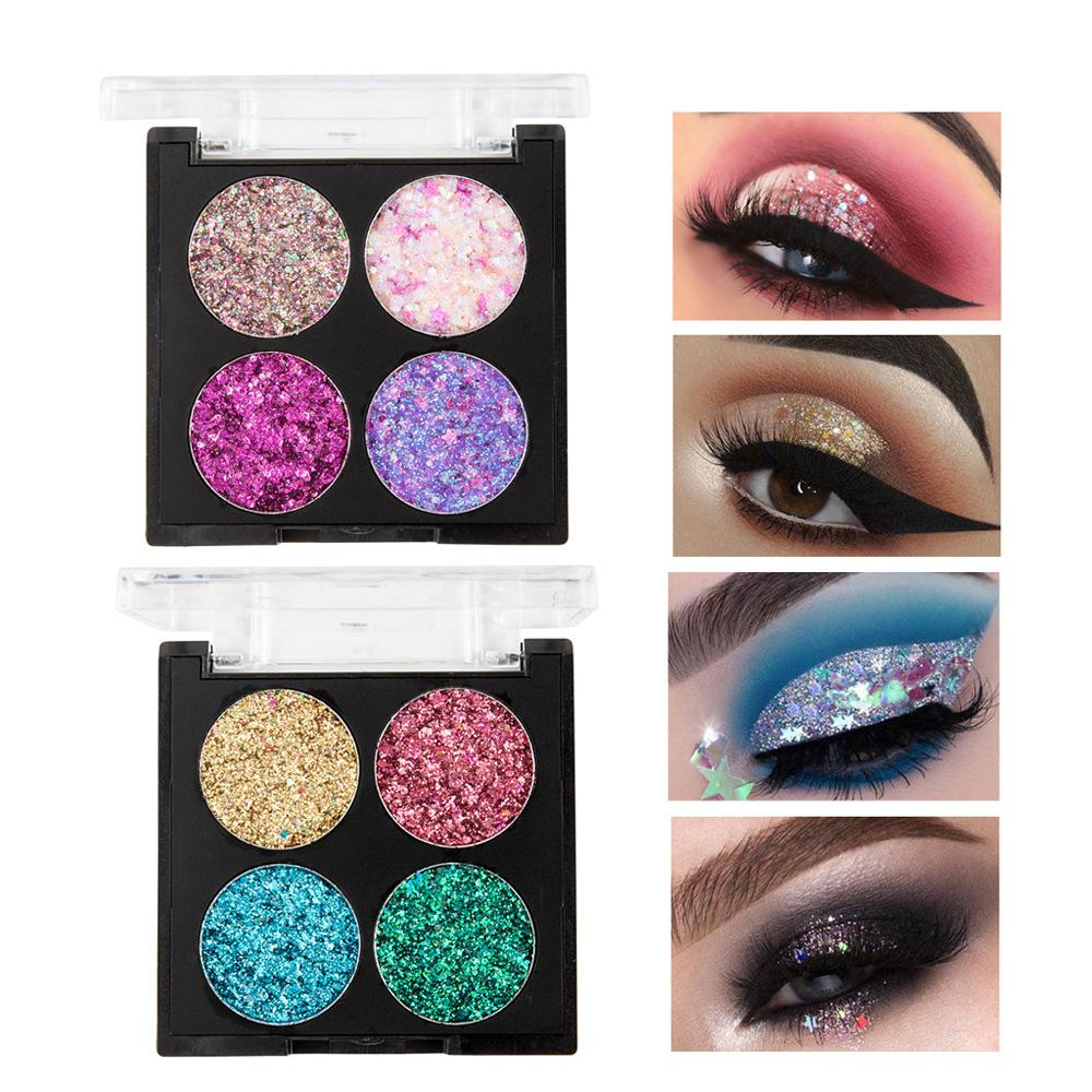 4 Colors Glitter Mix Eyeshadow Diamond Eyes Makeup Sequins Shimmer Girl Five-pointed Stars Ultra Flame Eye Shadow Palette