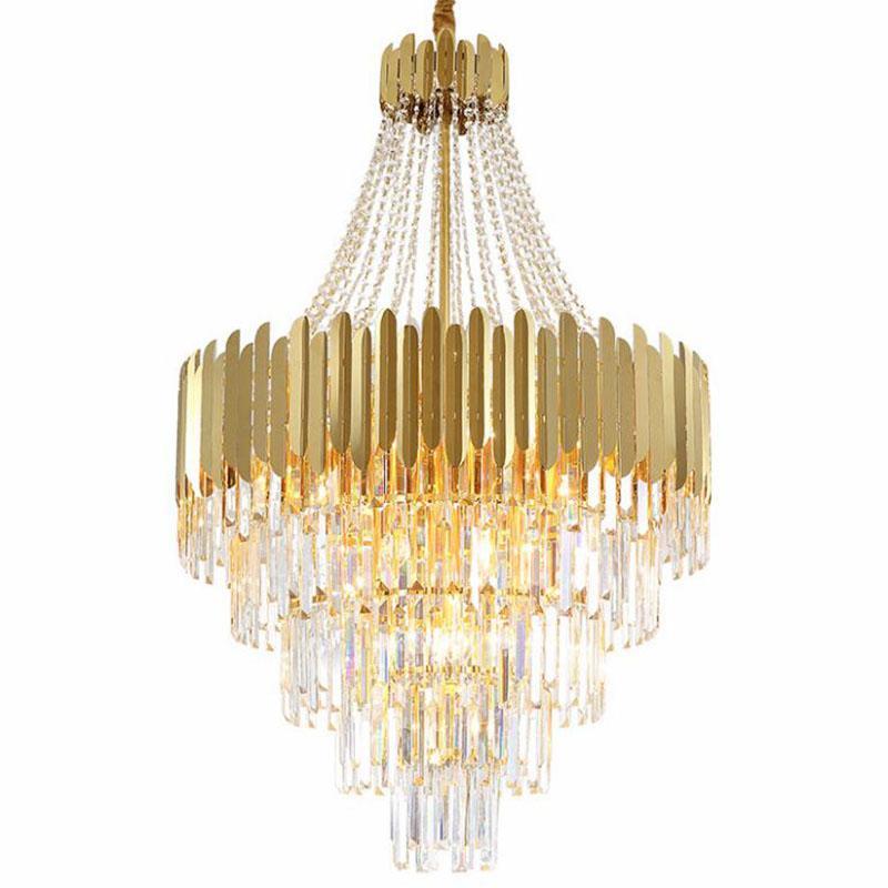 الذهب الحديثة كريستال الثريات المعيشة غرفة الطعام الصمام شنقا تركيبات الإضاءة كبيرة الثريات الرئيسية جولة