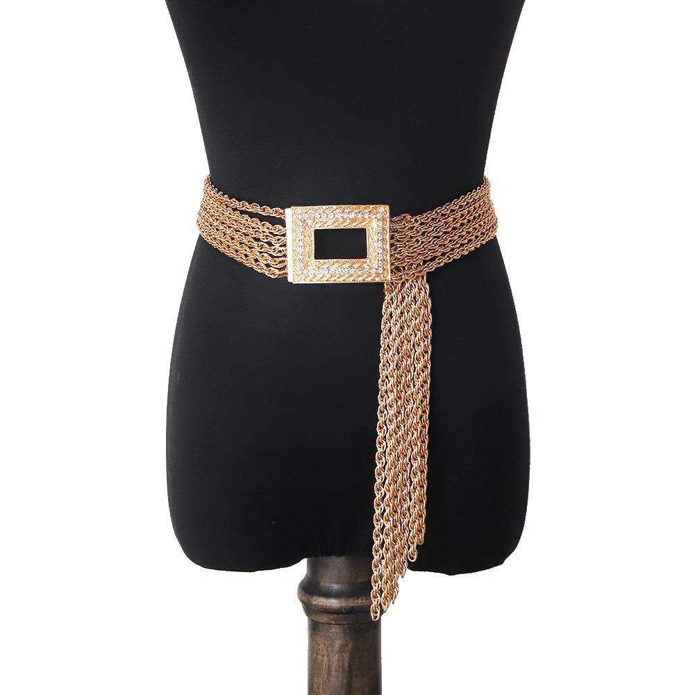 Golden Female Frau Metall Quaste Designer-Gürtel Neue trendige Mode Luxus glitzernde Diamanten Zirkon übertrieben quadratische Nadel Schnalle