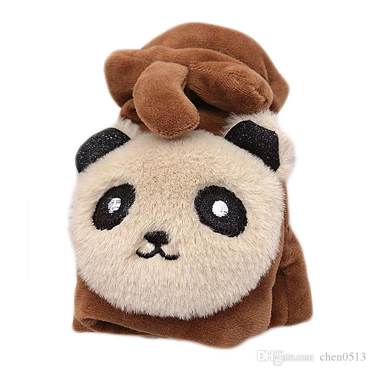 The year of 2019 Panda half finger gloves winter plus velvet thickening cycling cold warm cute cartoon children student gloves men and women