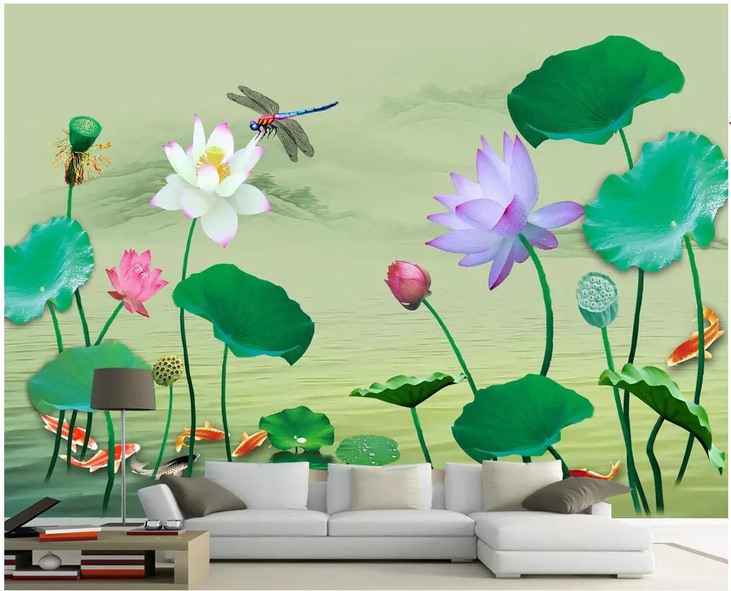 WDBH 3D 배경 화면 사용자 정의 사진 벽화 HD 연못 연꽃 잉어 잠자리 거실 홈 인테리어 3D 벽 벽화 벽 3 일 동안 벽지