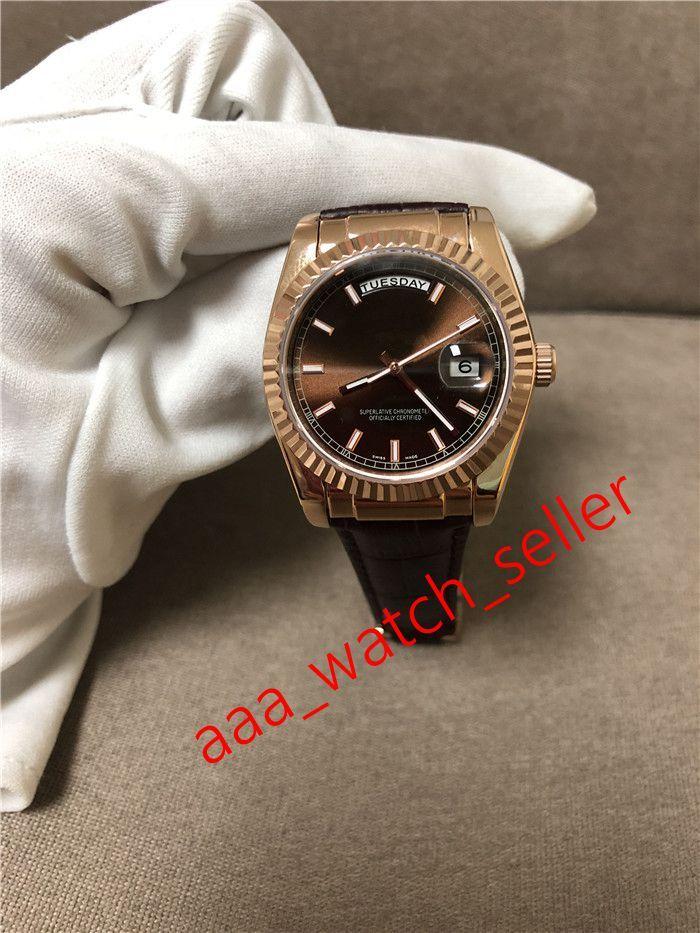 2020 Новые мужские моды Часы Master 36 мм Сни-дата 118135 128238 118138 Кофейный циферблат Ференый Безель Автоматическое движение Кожаный Ремешок Наручные часы