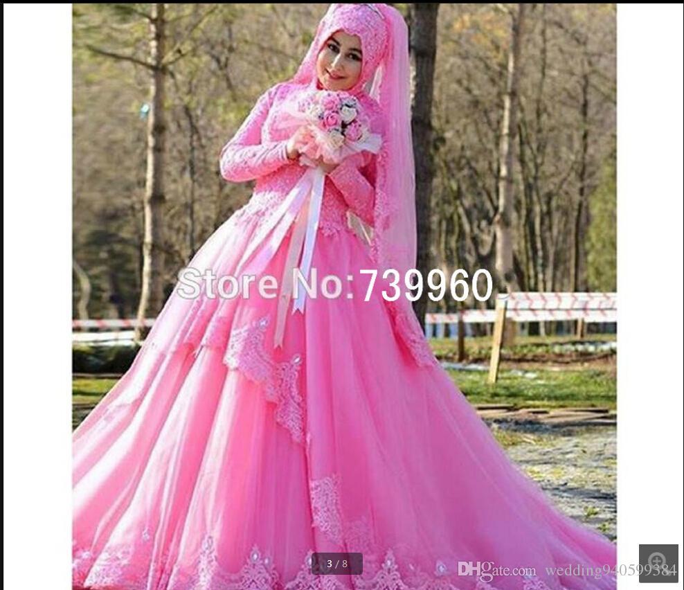 Vestido de Noiva, vestido de fiesta con bola musulmán rosa, vestido de fiesta escote alto con manga larga, vestidos de fiesta sencillos apliques de encaje vestido de cuentas