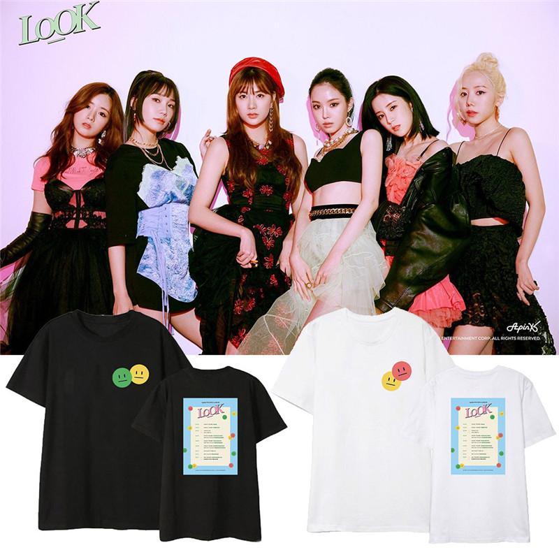 Kpop apink mira camisetas Hip Hop Streetwear ropa suelta camiseta camiseta Tops de manga corta Camiseta DX1391