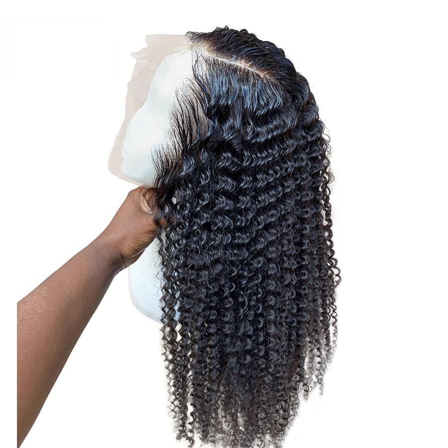 말레이시아 곱슬 레이스 가발 깊은 웨이브 (360) 전체 레이스 인간의 머리 가발 아기 머리 공장 도매 가격 360 레이스가 발 깊은 웨이브