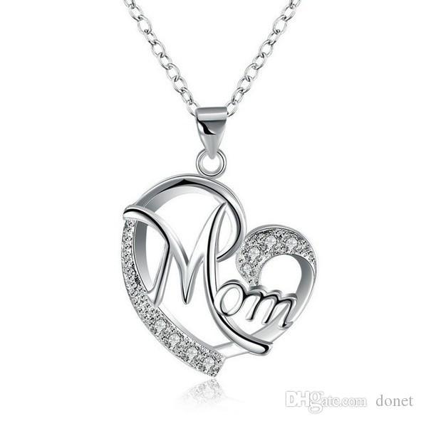 Collana con diamante a forma di amore da donna in argento sterling 925 a forma di mamma in argento sterling