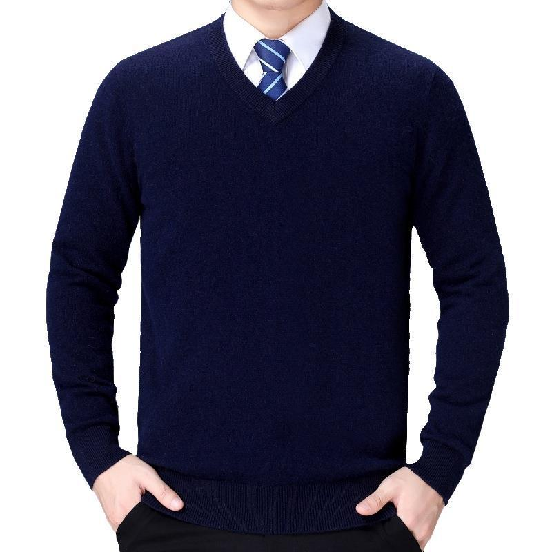 Roupa de Nova Men Sweater Bottoming Inverno Business casual Quente de meia idade V-Neck Sweater Men