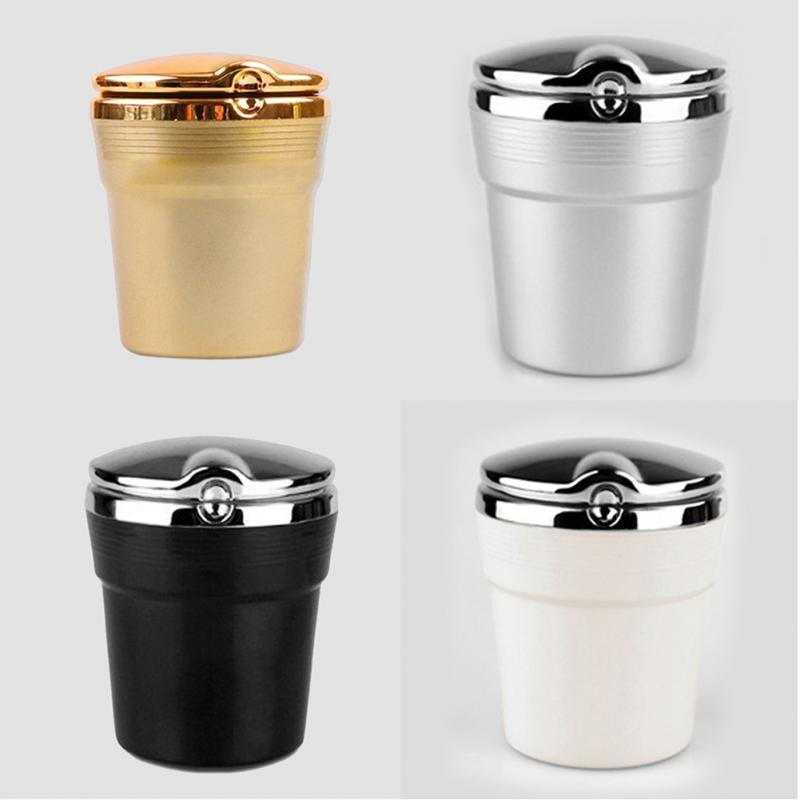 Travel Portable Car Ashtray Holder Cup with LED Blue Light Cigarette Silver/ Gold/Black/White
