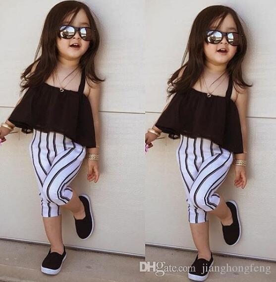 1-6Y милые девушки летняя одежда малыша ремешка вершины + полосатые брюки леггинсы 2шт наряды дети мода одежда малыш девушка одежда