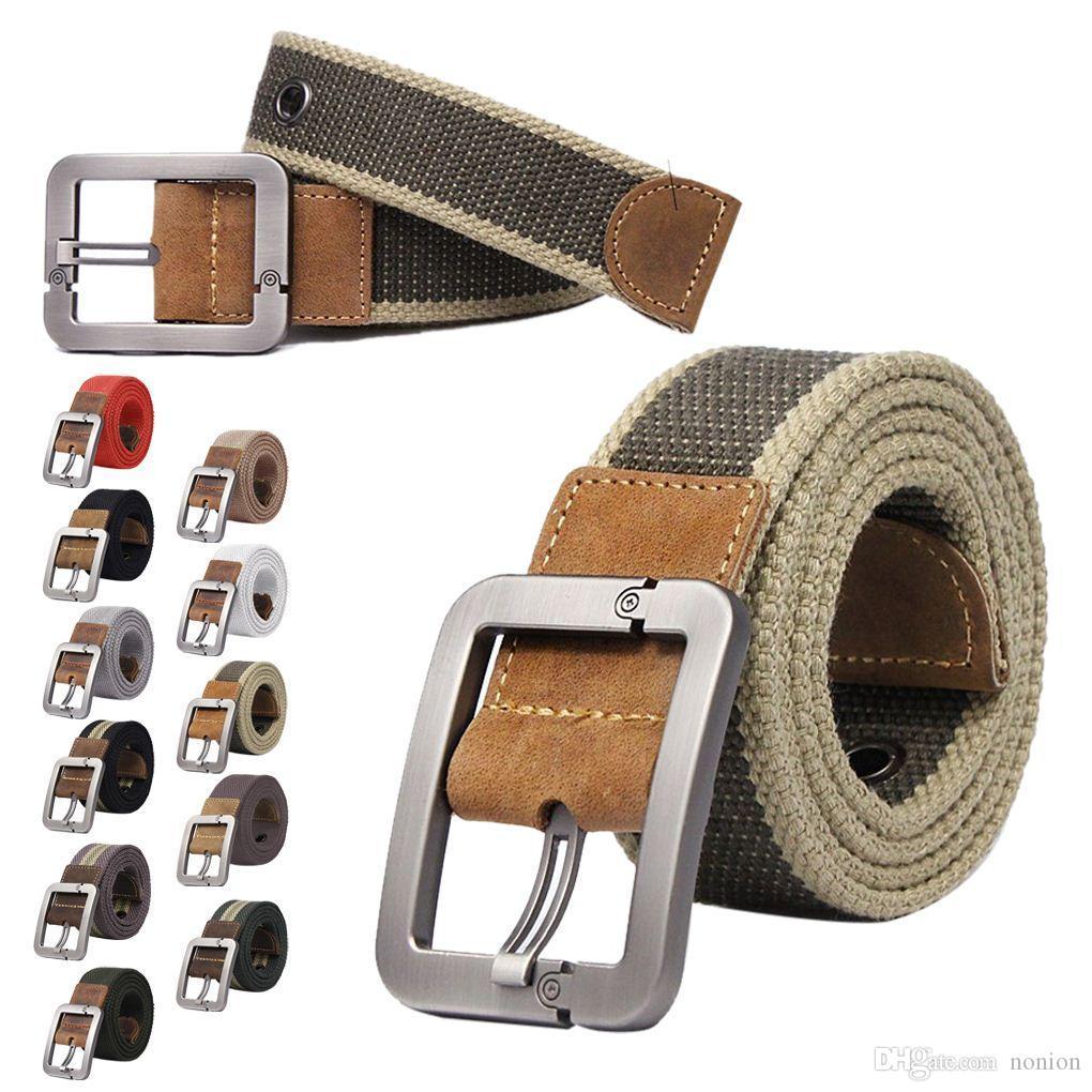 Cintura uomo in tela a righe Casual per il tempo libero ragazzo fibbia cintura in tela per uomo