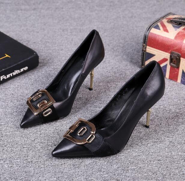 Bombas mulheres Stiletto luxo temperamento sapatos sapatos Genuine fase show de couro T Wedding Party quadrado lantejoulas fivela sapatos de salto de Hight