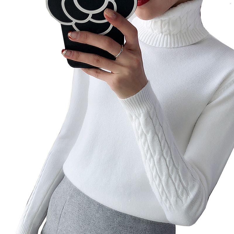 Womens Maglioni maglione donne maglione a collo alto in maglia autunno caldo donne maglioni e pullover femminile Solid Jumper Pull Femme Pullover