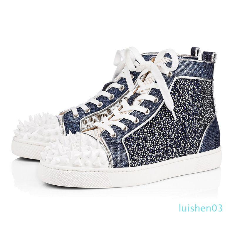2020 ayakkabı tasarımcısı erkekler kadınlar moda başak spor ayakkabısı siyah, kırmızı, beyaz, mavi deri süet Graffiti düz dipleri lüks gündelik ayakkabı L03