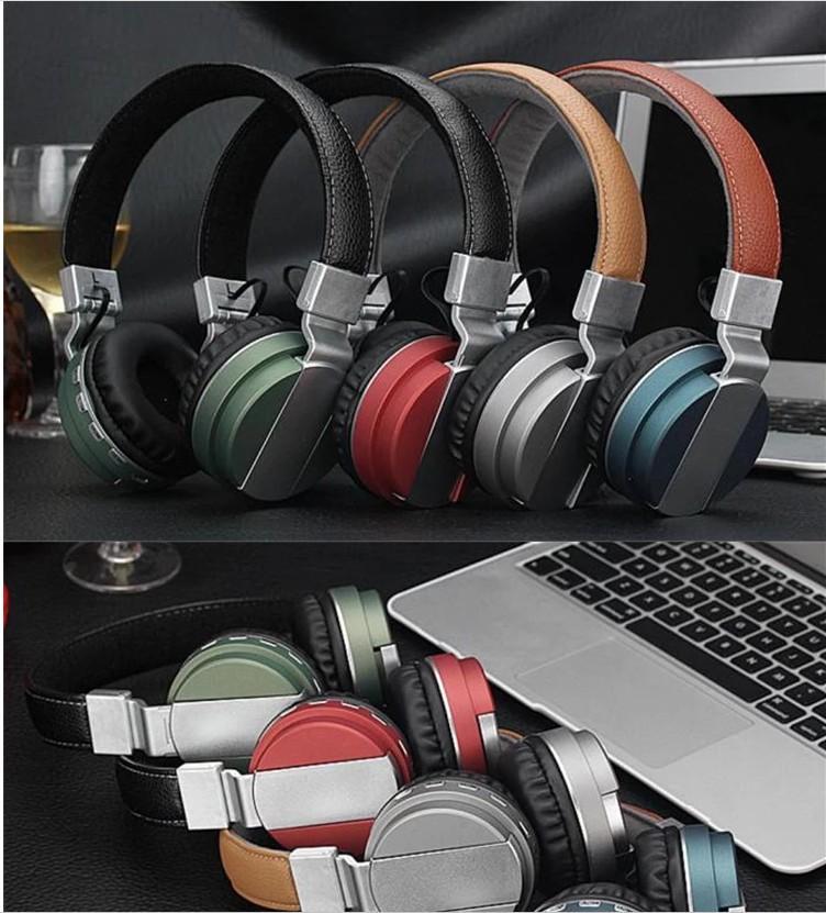 Metal Headband Headphone, Wireless Over-Ear dobrável Headset, Esporte rádio com FM fone de ouvido estéreo