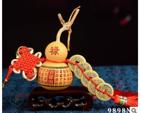 Boyutu: 5-6cm, hiçbir ahşap koltuk Doğal kabak bakır beş padişahlarının sikke kolye musluk Harfler kabak Çinli Küçük fabrika wholesa kabak düğüm