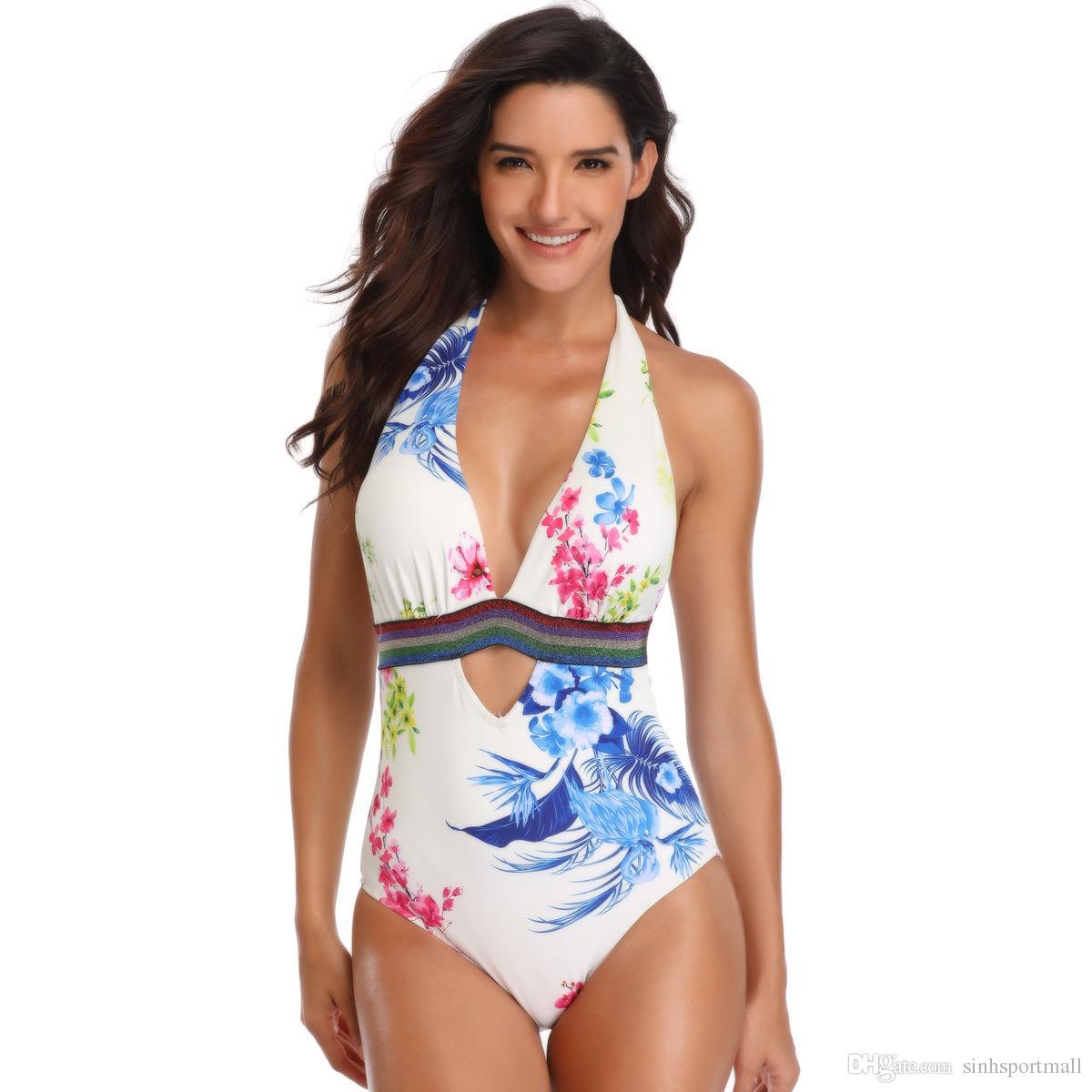ملابس السباحة قابل للتعديل 2019 المرأة المايوه قطعة واحدة النمط الصيني المطبوعة الصيف ثوب السباحة مع طباعة زهرة