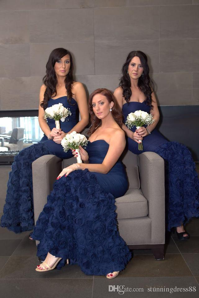 brand new shop best sellers convenience goods Fashion Navy Blue 3D Floral Flowers Mermaid Bridesmaid Robes Dresses  African Sweetheart Long Robes De Demoiselle D'Honneur Prom Dress Bridesmaid  ...