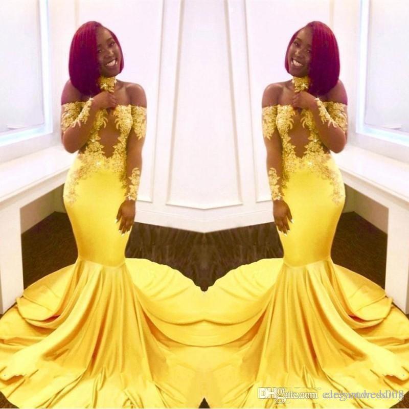 Очаровательный желтый с плеча Пром платья русалка иллюзия кружева блесток длинными рукавами замочную скважину атласная развертки поезд плюс размер партии вечерние платья
