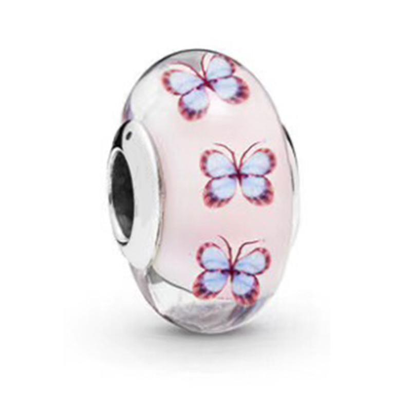 NEW 2019 100% 925 Sterling Silver High Quality Butterfly Glass Murano Charm Fit DIY Bracelet Original Fashion Jewelry Gift