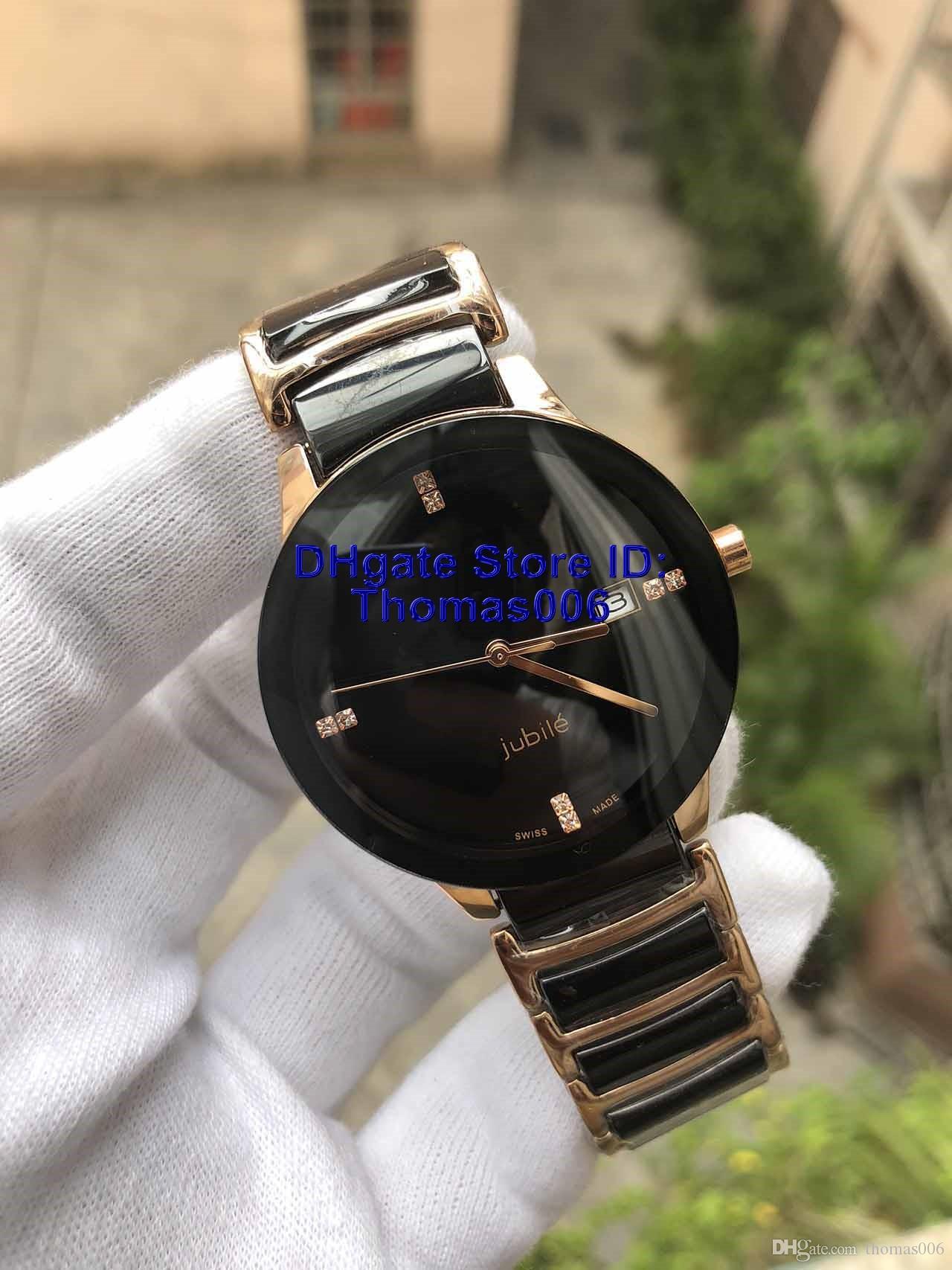 Reloj de señoras de cerámica Qaurtz negro de la manera unisex al por mayor caliente Relojes Señora famoso Modern Men casual para hombre del reloj del deporte de 37mm