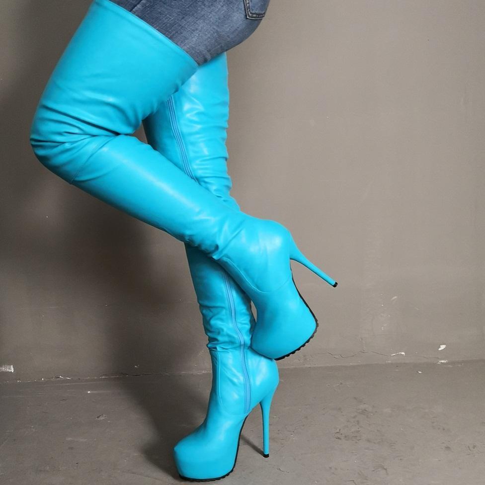 Kolnoo 2020 Handmade Real Fotos Womens botas altas da coxa Round-toe Sexy Plataforma Sobre Joelho Botas Partido Prom Clube Moda Evening Botas D321