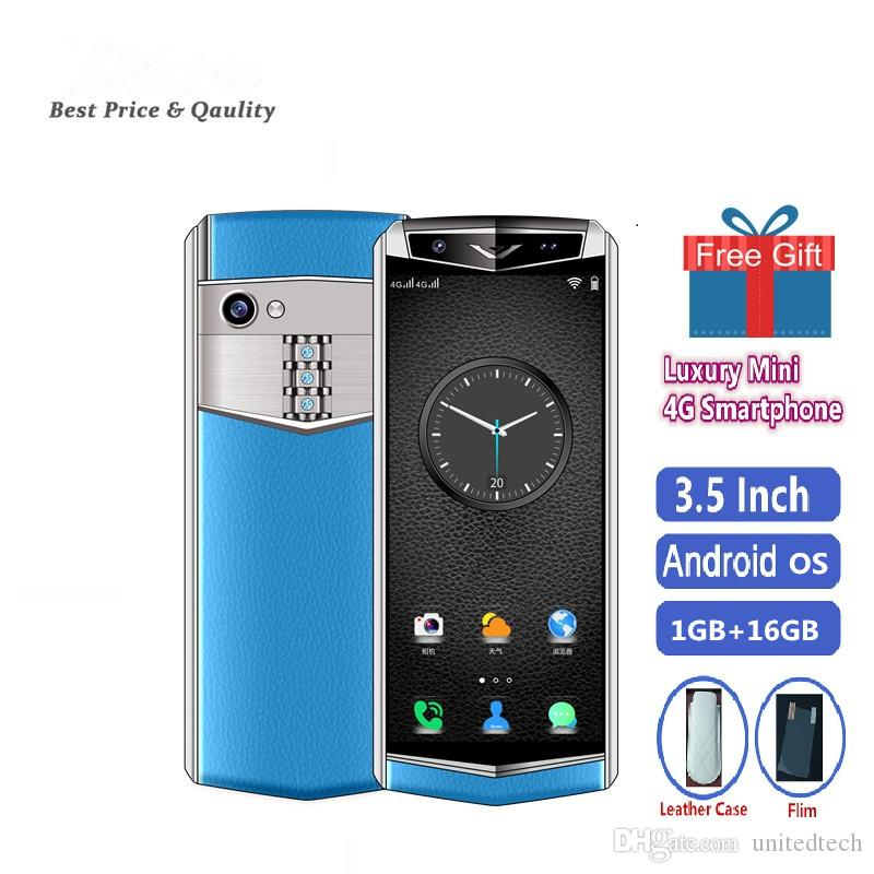 Unlocked Super mini 4G LTE Android smartphone Luxury Metal 3.5 Inch Face ID Support Google Play Wifi Smallest Leather Mobile phone Free Case