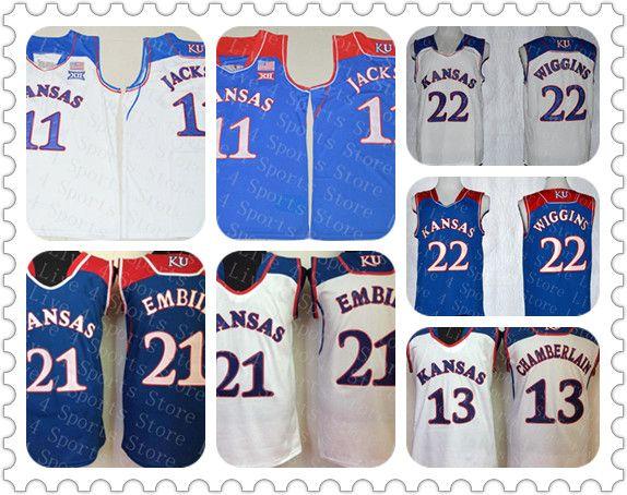 Kansas Jayhawks Joel Embiid Баскетбол Джерси Синий Белый Джош Джексон 13 Уилт Чемберлен 22 Andrew Wiggin Ncaa KU Колледжи Jerseys Дешевые