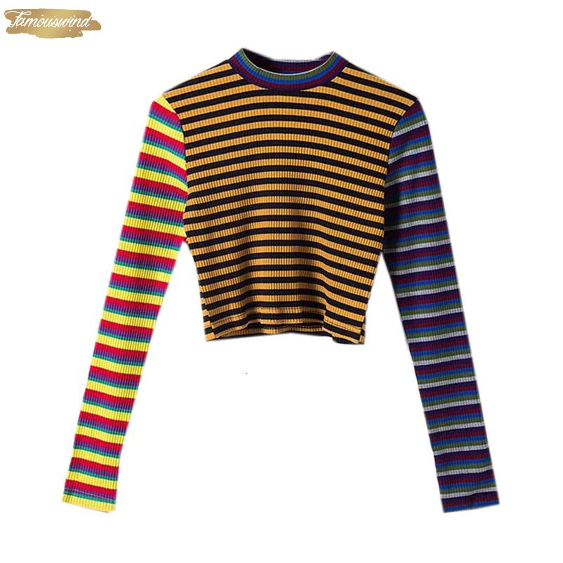Autunno Donne Maglioni a strisce Streetwear Via Crop supera il trasporto sottile maglia Pullover alta elasticità Maglieria Goccia