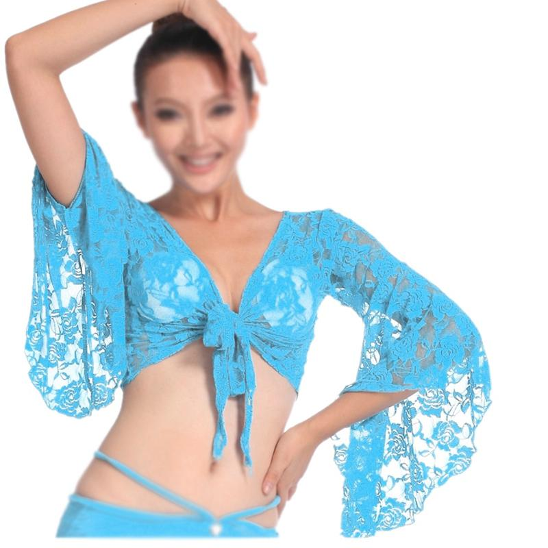 Сексуальный танец живота танцы кружева блузка топ бюстгальтер танцевальная одежда Костюмы озеро синий