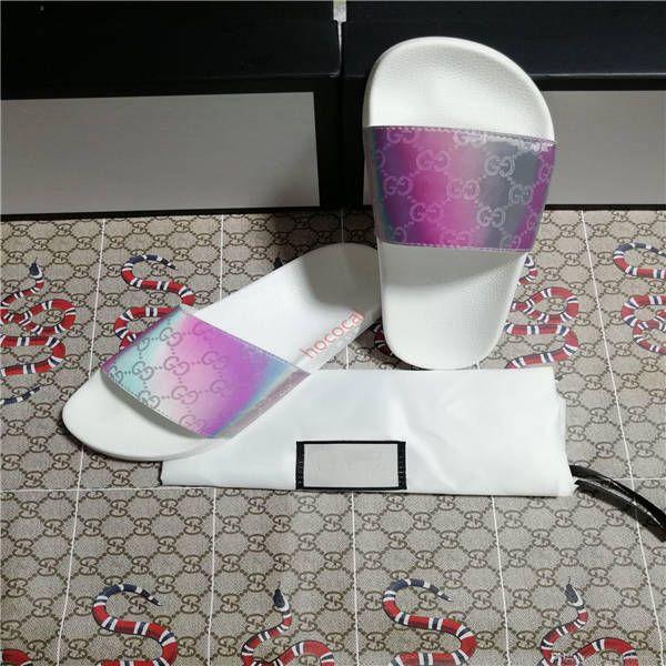 Erkekler Kadınlar Slayt Sandalet Tasarımcı Ayakkabı Lüks Slayt Yaz Moda Geniş Düz Kaygan ile Kalın Sandalet Terlik Ayaklı boyutunu 36-45 Flops