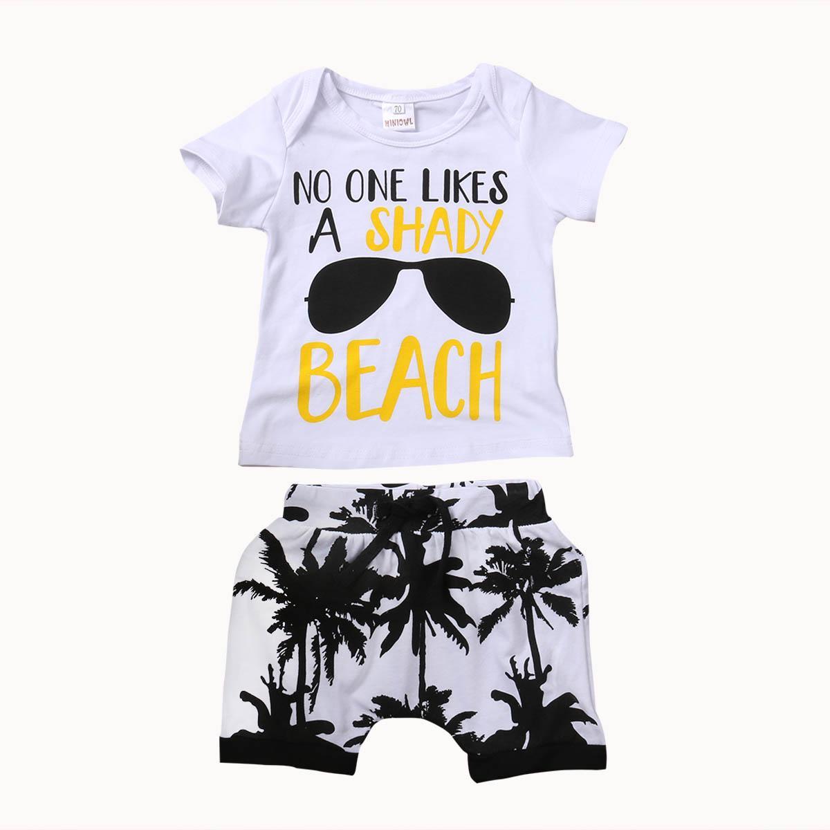 2ST Kleinkind-Kind-Baby-Jungen-Mädchen-Kleidung stellt 2017 Sommer Kurzarm Baumwolle T-Shirt Top + Shorts Hot Pant Outfit Kinder Kleidung