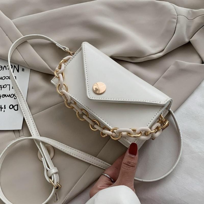 Nova Cadeia Simples Feminino Shoulder Bolsas Mini PU bolsas de couro Bandoleira para Mulheres Casual Sólidos Ladies Color Travel Flap Bags