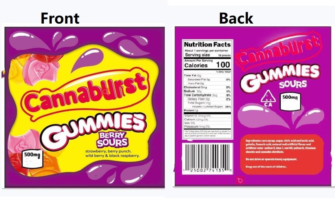 Yeni 2 tiplerin 500mg Cannaburst gummies Berry Sours Çanta Meraklısı halat çanta DHL nakliye Packaging ekşi