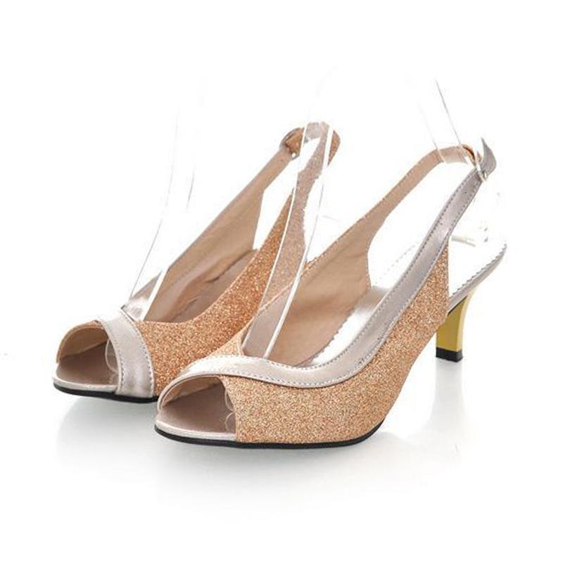 Coolcept Peep Open Toe Sandalias de tacón alto de señora Thin Heels Party Wedding Shoes Woman Back Strap Calzado Tamaño 30-46 PA00328