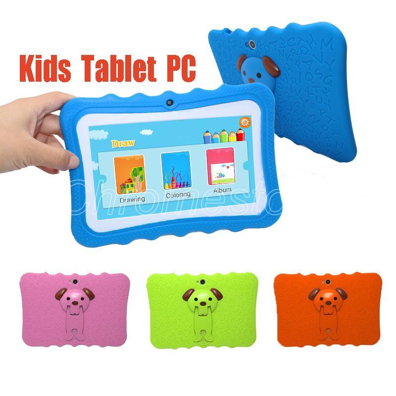 Crianças Tablet PC 7 polegadas Quad Core crianças tablet Android orador 4,4 Allwinner A33 8GB google jogador wi-fi grande + caso capa protetora