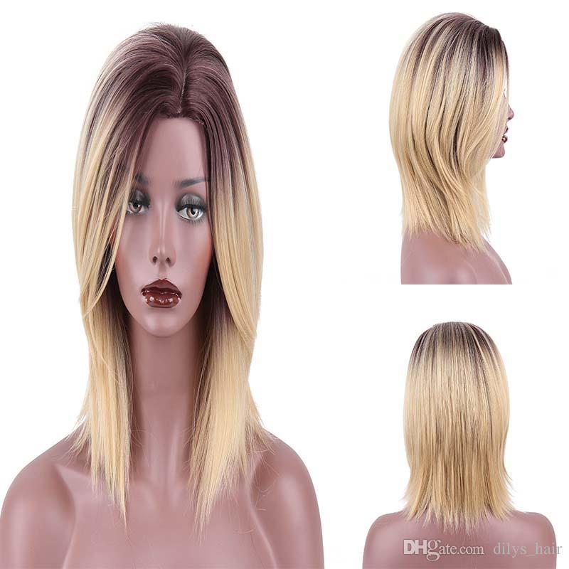 16 بوصة الباروكة الاصطناعية مستقيم الطبيعية الطبيعية شعري الباروكات 200g / قطعة الألياف مقاومة للحرارة اللون R6-27-613