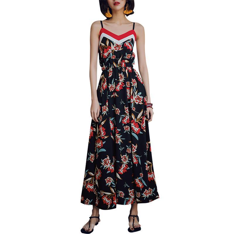Vestido largo maxi de mujer sexy Vestido de tirantes de espagueti con estampado floral Vestido bohemio sin mangas Slim Beach Holiday Slip largo Royal Blue