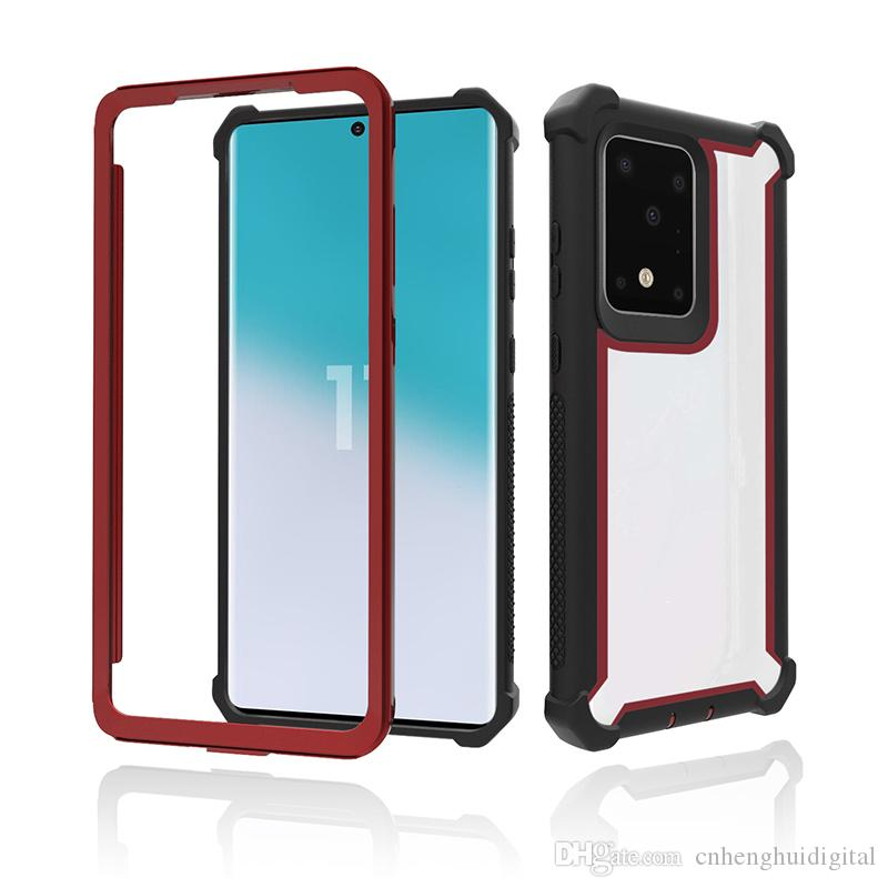 Para Samsung Galaxy S20 S20 S20 além Ultra cor sólida híbrido Combo TPU PC 3 em 1 Phone Case oppbag