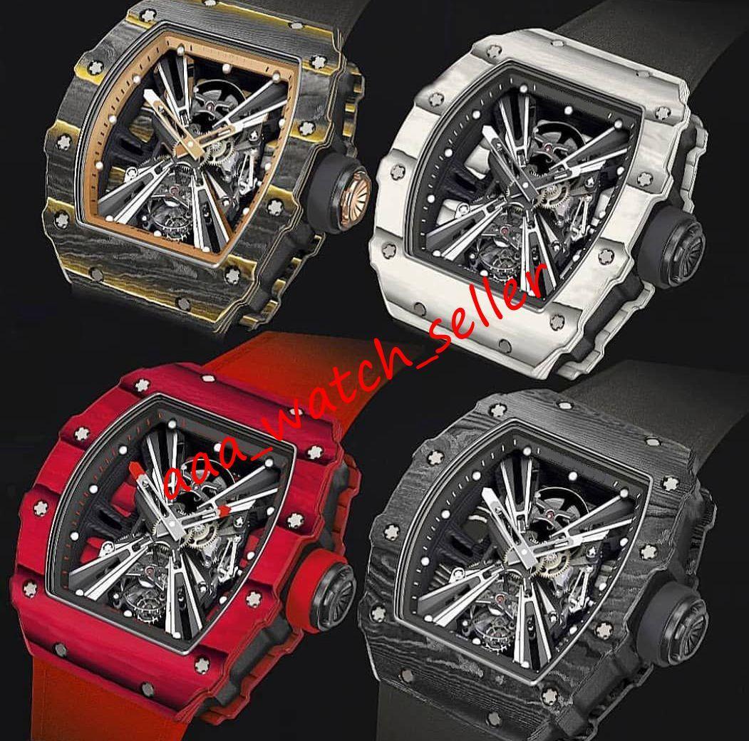 7 Стили Высочайшее качество Роскошные Мужские Часы RM1201 RM12 Outdoorworked Sketelon Tourbillon Автоматическое движение TPT Углеродное Волоконное Чехол Резиновый Ремешок